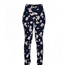Navy Flowered Women's Skinny Pants