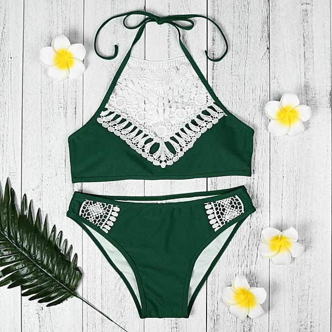 fcf1bee3faf huskspo Women Sandy Beach Bra Bra Sexy Bikini Swimsuit Set Beach Swimwear  GN L-Green
