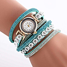 Women Ladies Metal Decorative Circle Quartz Watch Winding Bracelet SB