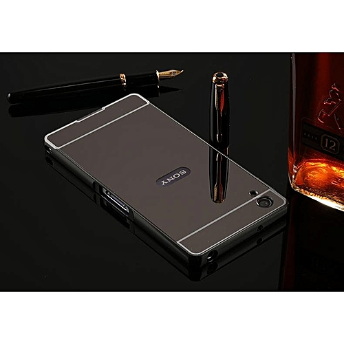 For Sony Xperia Z2 Case L50W L50u D6503 D6502 Gold Plating Armor Aluminum  Metal Frame + Mirror Acrylic Case Cover For SONY Z2 (Color:Grey)