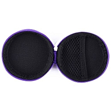 Earphone Pocket Headphone Earbud Carry Storage Bag Coin Pouch Hard Holder Case(Purple)