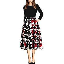 Women's Flower Printed Dress -7/10 Sleeve Length