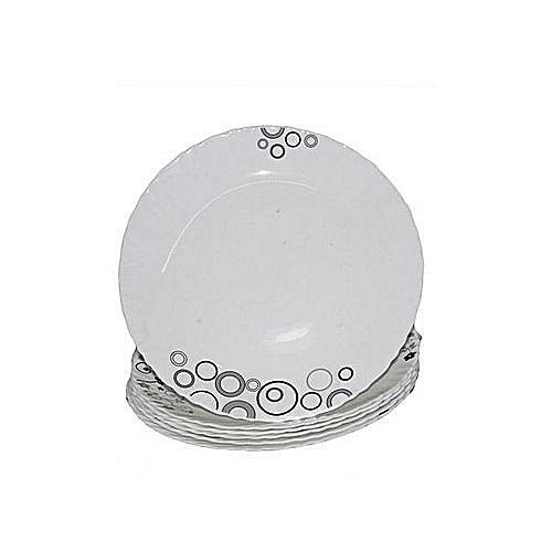 6 Piece dinner Plate Set - White with Black Circles