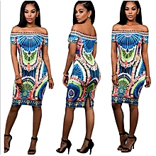 Womens African Print Off Shoulder Bodycon Dress