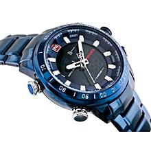 NAVIFORCE Luxury Brand Men Military Sport Watches Men's Digital Quartz Clock Full Steel Waterproof Wrist Watch relogio masculino NF9093BBW WWD