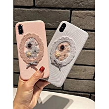 iPhone X Phone Cover Plush Flower Design Lovely Phone Case____IPHONE X____pink