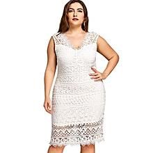 Plus Size Openwork V Neck Pencil Dress-WHITE