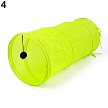 Pets Small Foldable Tunnel Toy Dangling Bell Decron Cloth Sleeping Bag (Fluorescent Green)