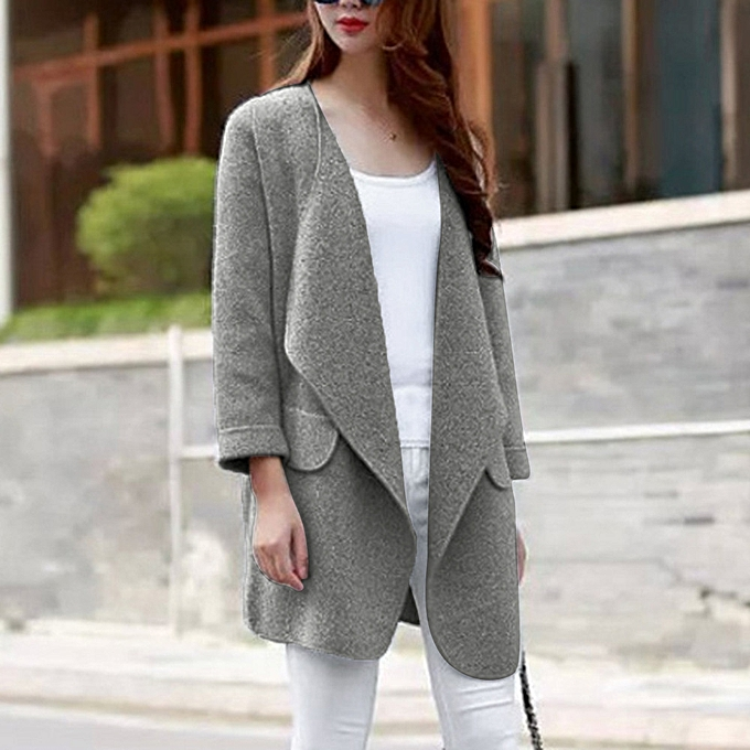 464067f1a03d Fashion Women Solid Large Turn-down Collor Winter Cardigan Warm Sweater  Outwear Coat-Gray