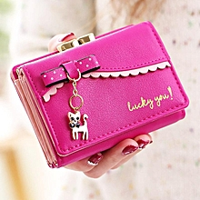 Fashion Women Bow Tie Kitty Bright PU Leather Short Wallet Card Holder Purse