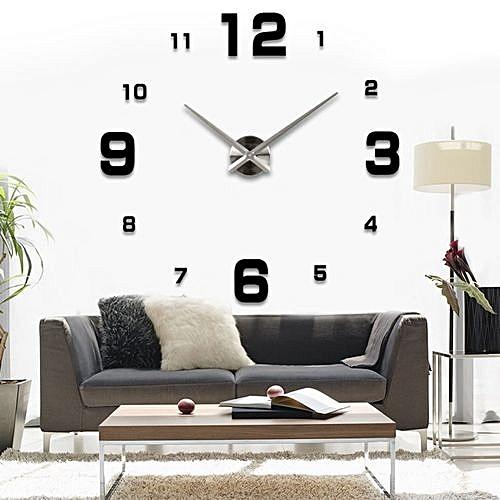 generic creative diy digit 3d mirror sticker wall clock home decor