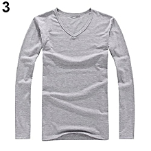 Men's Fashion Slim Fit Cotton V-neck Long Sleeve Casual T-shirt Concise Top-Grey.,
