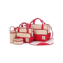 Shoulder  Diaper Bag, Multi Pockets Waterproof Nappy Bag For Travel, Large Capacity and Stylish -red