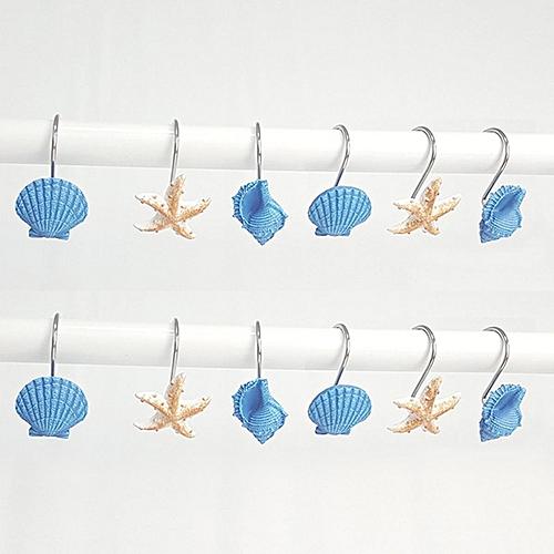 12 PCS DECORATIVE Seashell Shower Curtain Hooks Bathroom Beach Shell Decor US