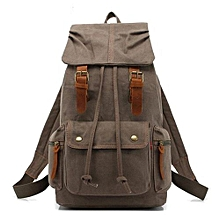 AUGUR Canvas Backpack Straw String Outdoor Mountain Travel Bag Washed Canvas Bag With Leather Camping Rucksack Men Women Black(Grey)