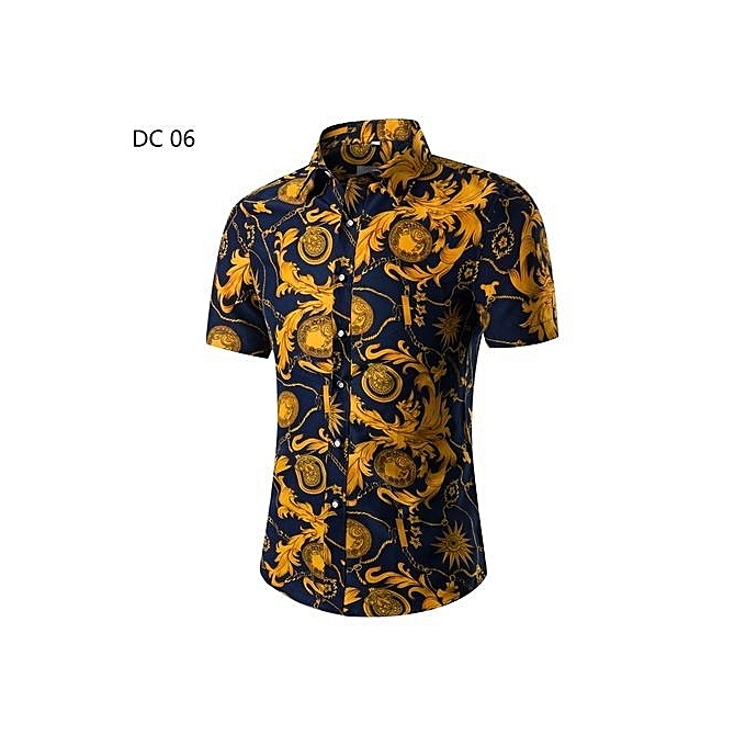 8362431ea378 2018 Fashion Mens Short Sleeve Hawaiian Shirt Summer Casual Floral Shirts  For Men Asian Size M