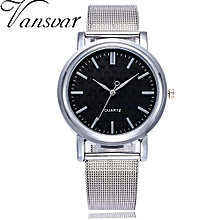 Olivaren Vansvar Casual Quartz Stainless Steel Band Newv Strap Watch Analog Wrist WatchSilver