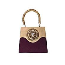 Raw Silk Pintuck Handbag with Radiant Brooch - Purple