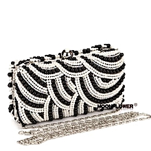 Shorts Suitable & Comfortable Trousers & LeggingsBlack Pearl Clutch Bags Clutches Lady Wedding Purse Party Office Wear To Work Bag For Ladies Wedding Handbags Silver/Gold/Black Evening Bag-white And Black