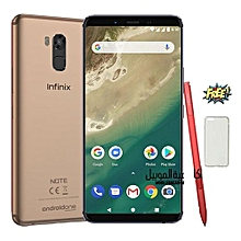 Note 5 Stylus  6' Full Metalic Body - 64,4GB Ram   16MP Camera Front & Back , Low Light Selfie , X PEN  ,4000mAh X Charge , Champagne Gold + Free Slicone Case