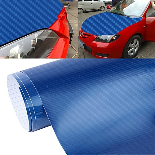 5d High Gloss Carbon Fiber Car Vinyl Wrap Sticker Decal Film Sheet Air  Release, Size: 152cm X 50cm(blue)