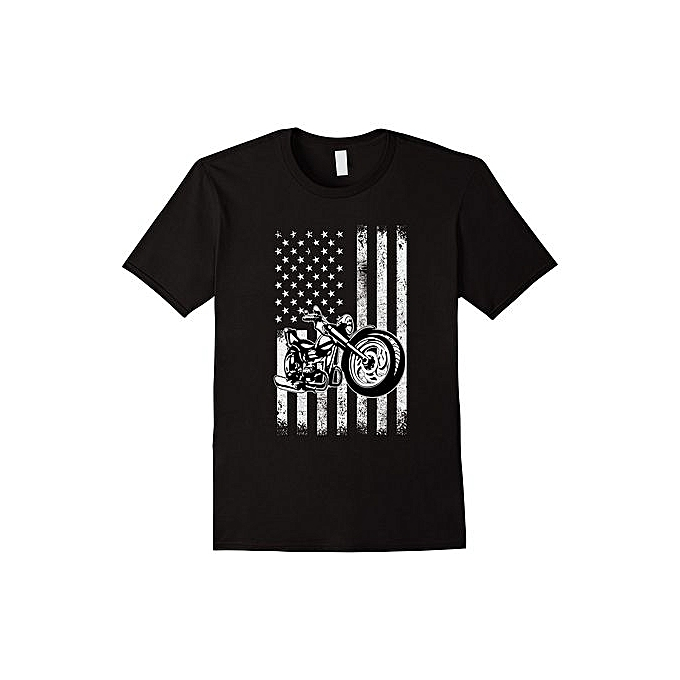 080fcd7b5f63 DIY Cotton Funny Tee Shirts Motorcycle T-Shirt Bikers American Flag T-shirt  Size