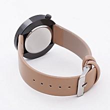 Technologg Watch  Men Round Dial Leather Band Casual Quartz Watch-Beige
