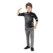 Boys Clothing Set of Charcoal Grey Denim / Jeans & Black Cotton Shirt