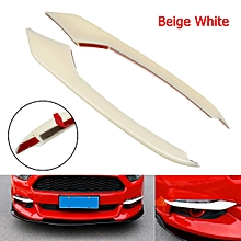Ford Mustang 2015-2016 ABS Carbon Fiber Style Front Fog Light Eyebrow Cover Trim #White