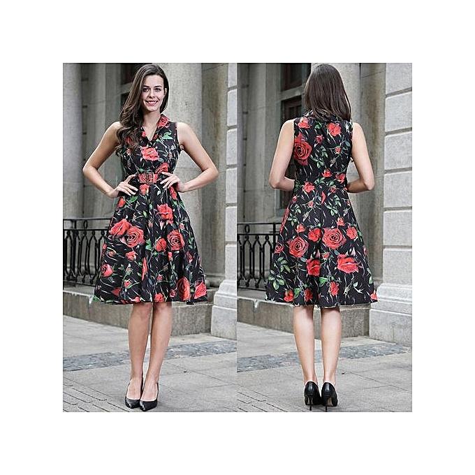 Buy Fashion Women Vintage 50s 60s Rockabilly Rose Floral Print Dress