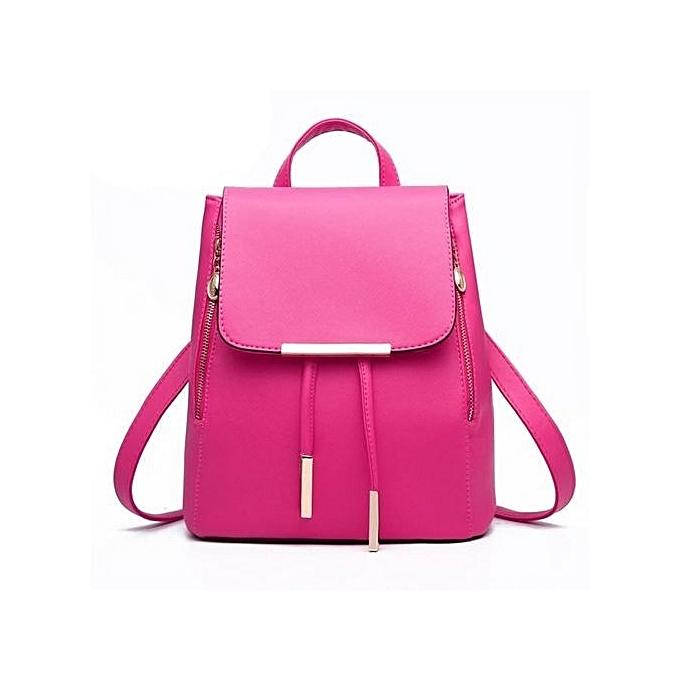 13993b0c98a bluerdream-Women Leather Backpacks Schoolbags Travel Shoulder Bag Hot  Pink-Hot Pink