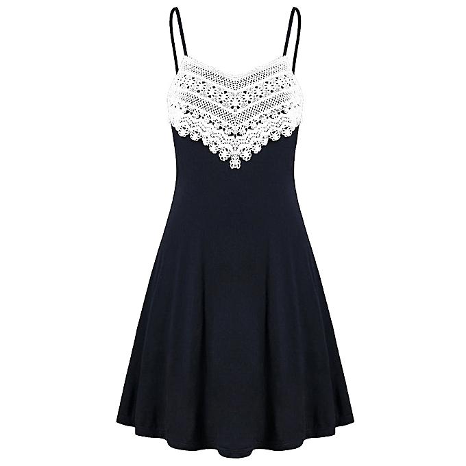 dd619a5d918 husksp Fashion Womens Crochet Lace Backless Mini Slip Dress Camisole Sleeveless  Dress