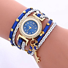 Lady  Leather Wrist Watch Fulaida Fashion Leather Bracelet Weaving Lady Womans Wrist Watch Blue-Blue