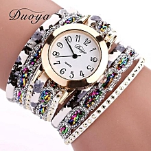 Duoya Women's Wrist Watch  Watches Women Popular Quartz Watch Luxury Bracelet Flower Gemstone Wristwatch@gold
