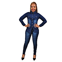 Elegant Denim Suit (Trouser+Top) - Navy Blue