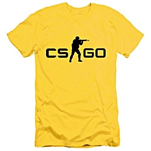 Men Counter Strike CS GO O-neck T-shirts -Yellow&Black
