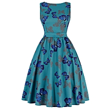 Butterfly Print Floral Prom Dress - Blue