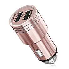 CCM202 12 - 24V Input 5V 2.4A Output All-metal Mini Car Charger With Emergency Safety Escape Hammer-ROSE GOLD