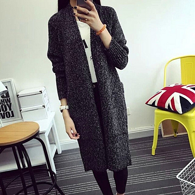bdb539b68b0d Fashion Women Long Sleeve Oversized Loose Knitted Sweater Cardigan Outwear  Coat DG-Dark gray