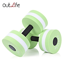 Outlife 2pcs Fitness Pool Exercise EVA Water Aquatics Dumbbell for Swimming Training Green