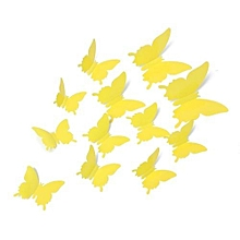 3D Butterfly wall decorations/stickers (12 butterflies), Yellow