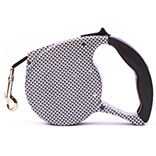 5m Dog Collar Leash Automatic Retractable Leash Harness Cat Dog Walking Rope white & black plaid
