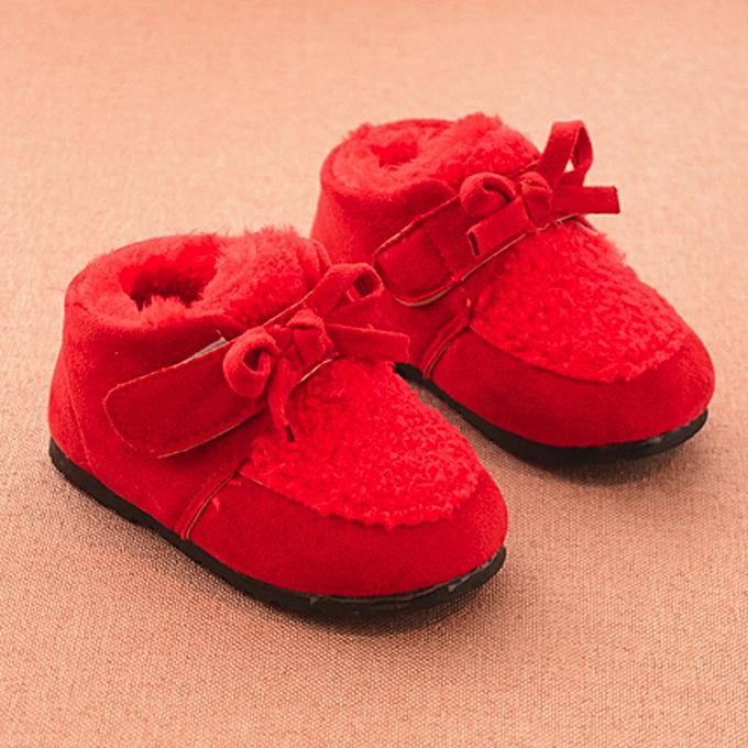 64244dc1a83d3 ... Children Newborn Cartoon Woolen Warm Baby Girls Shoes Sneakers Boots-  Red ...