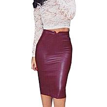huskspo Women Leather Skirt High Waist Slim Party Pencil Skirt