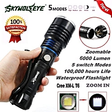 Camping & Hiking Flashlight 6000Lumen 5 Modes Zoomable CREE XM-L T6 LED 18650 Battery Flashlight Focus Lamp
