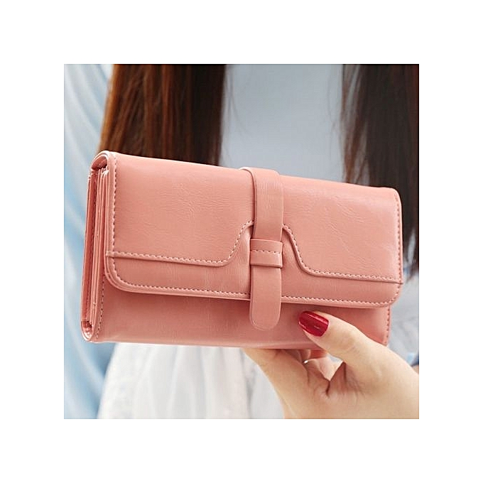 Women's Vintage Three Folded Drawstring Decoration Purse Fashion Long Clutch (Pink)
