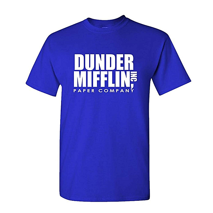 20970366642f0 Generic The Office TV Show Dunder Mifflin Paper Men s Royal Blue T ...