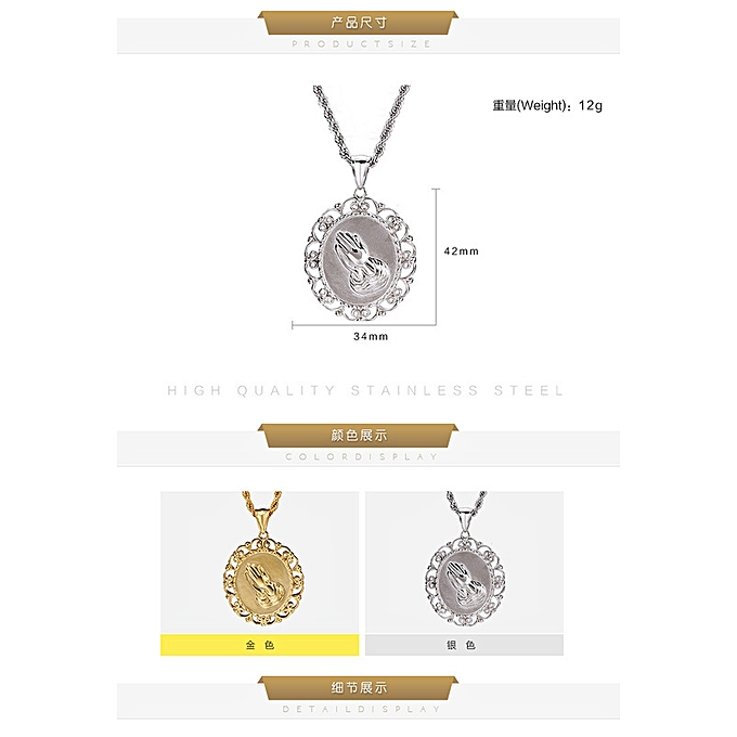 Dropping price only-Hip-hop hip-hop fashion Titanium steel men's Necklace  stainless steel men's hand-in-hand Fashion Pendant