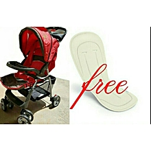 Baby Stroller/ Foldable Pram Portable Baby Stroller With Universal Casters- Red with a free Stroller Liner