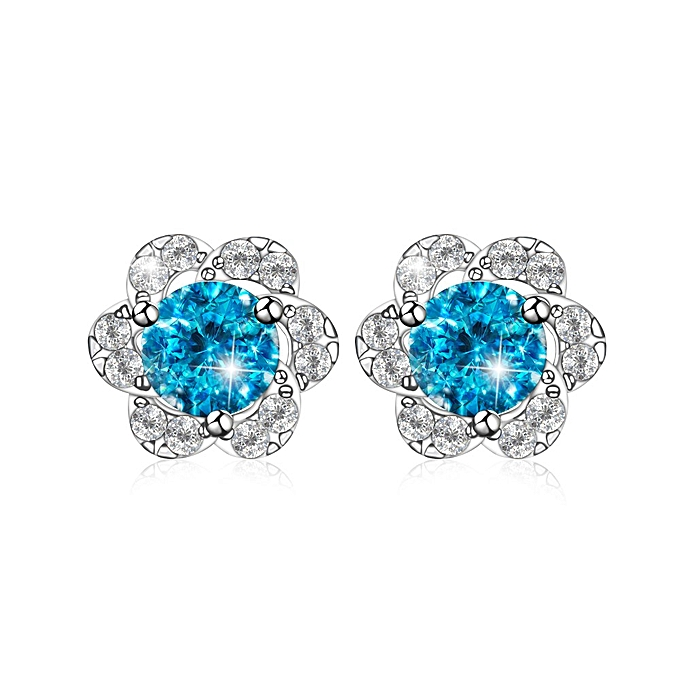 3d401f148 Silver 925 Sterling Silver Cushion Cut Stud Earrings- Blue @ Best ...
